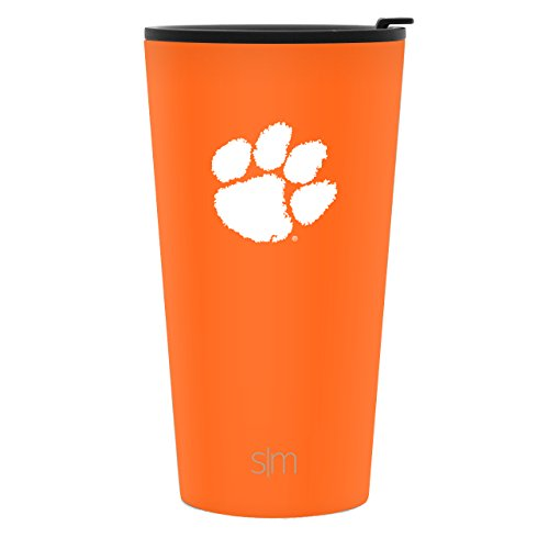 Simple Modern 16oz Pint Tumbler - Clemson Tigers Vacuum Insulated 18/8 Stainless Steel Tailgating Cup Travel Mug - Clemson