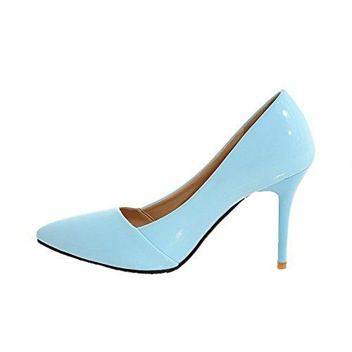 Flats di Puro VogueZone009 Maiale Pelle Ballet Donna Tirare Azzurro Tacco Alto ZUxqzgA