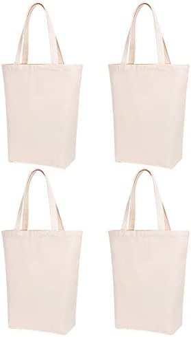 Lily Queen Natural Canvas Tote Bags for Crafting and Decorating Reusable Grocery Washable Bag Shopping Bag (Natural - 4 Pack)