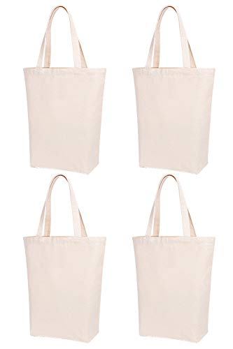 Lily Queen Natural Canvas Tote Bags for Crafting and Decorating Reusable Grocery Washable Bag Shopping Bag (Natural - 4 ()