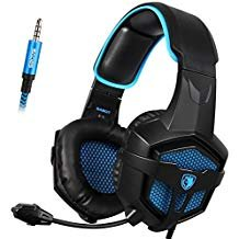 Sades SA807 3.5mm PS4 Wire Gaming Headsets Headphone with Microphone for PS4,Xbox one,PC (Black and Blue)