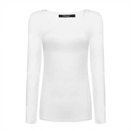 - OThread & Co. Women's Long Sleeve T-Shirt Scoop Neck Basic Layer Spandex Shirts (X-Large, White)
