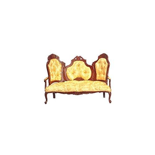(Dollhouse Miniature Rococo Sofa, Gold, Walnut)