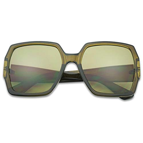 (Extreme Oversize Square Colorful Transparent Designer Inspired Super Flat Acrylic Sun Glasses (Olive Green Frame | Green))