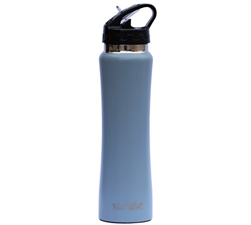 BlissActive Stainless Steel Insulated Water Bottle, Wide Mouth Double Wall with flip straw Sweat-proof Straw Cap Perfect for Office Gym Kids Outdoor events 17 oz and keeps ice cubes for over 20 hrs