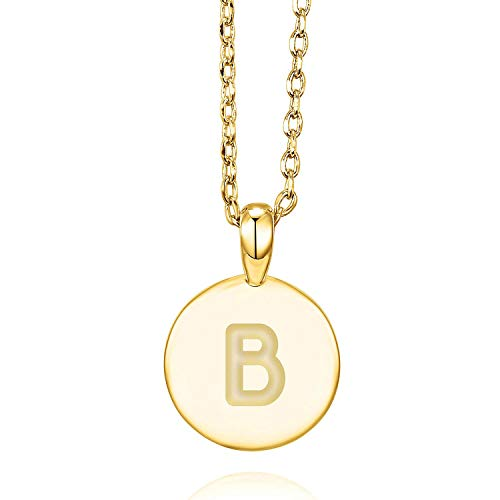 14k Initials Charm - PAVOI 14K Yellow Gold Plated Letter Necklace for Women | Gold Initial Necklace for Girls | Letter B