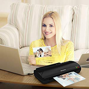 A4 Laminator, Morpilot hot | Cold Laminating Machine, INCL. Corner Rounder, Support Plate and 20pcs Laminating Pouches, 3-5 Minutes Warm-up time, 230mm/A4, 2 Rollers, for Office, Home and School