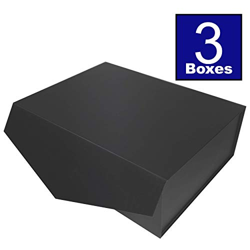 Cohaja Matte Black Gift Box with Lid | 3 Pack | 12 x 9 x 4 Inch | Magnetic Closure | Multiple use | Decorative Gift or Storage Boxes for Groomsmen Proposal, Favors, Weddings, Office and More ()