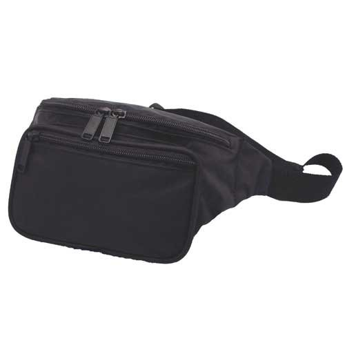 3 Zippered Compartments/Classic Fanny Pack / Hip Pack, Black, Outdoor Stuffs