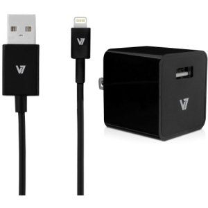 V7 12W USB Wall Charger with Lightning Cable - 12 W Output Power - 120 V AC, 230 V AC Input Voltage - 5 V DC Output Voltage - 2.40 A Output Current - AC30024ACLT-BLK-2N by Generic (Image #1)