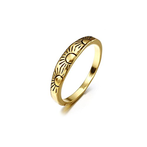 (OldSch001® Party Rings,Womens Fashion Alloy Sun Wedding Band Ring Jewelry (Gold, 6))