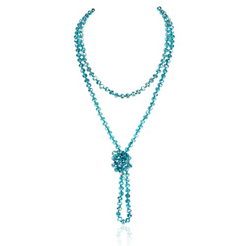 "Hand Knotted Beads Endless Long Statement Necklace - Handmade Versatile Beaded Strand Lariat Multi Layer Infinity Wrap 60"" Sparkly Faceted Crystal Rondelle/Round Natural Stone (Clear Teal)"