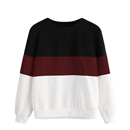 Red Polyester Heart Appliques (Kimloog Women's Color Block Crewneck Sweatshirt Teen Girls Long Sleeve Sport Pullover (XL, Wine Red))