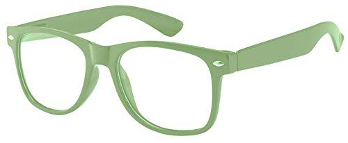 Classic Vintage Sunglasses Light Green Frame Clear Lens retro OWL (Retro Nude Male)