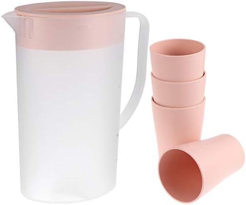 Cabilock Großer Plastikkrug mit Deckel Hitzebeständiger Heißer Kaltwasserkaraffen-Wasserkrug mit 4 Stück Tassen für Saftgetränkeglas Eistee-Wasserkocher 1. 6L Pink