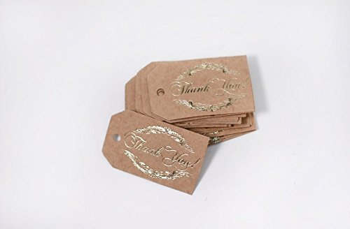 Thank You Tags, 40 Pack, Real Gold Foil Printing, Kraft Paper, Gift Tags Rectangular, Party Favors (Thank You!2 Kraft)