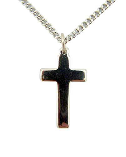 (First Communion Silver Tone Base Plain Cross Pendant, 1 Inch)