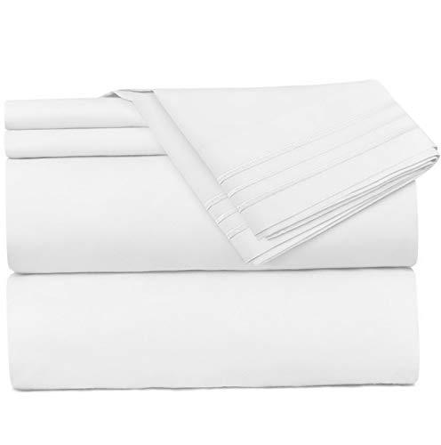 - Mikash 3 Piece Sheet Set - 1800 Deep Pocket Bed Sheet Set - Hotel Luxury Double Brushed Microfiber Sheets - Deep Pocket Fitted Sheet, Flat Sheet, Pillow Cases, Twin XL - White | Model SHTST - 162