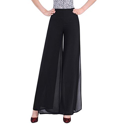 E.JAN1ST Women's Chiffon Palazzo Pants High Waist Solid Lined with Split Lounge Pants, Black, (Chiffon Palazzo Pants)