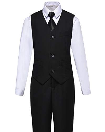 Visaccy Kids Boys Formal Wear Black Toddler Vest and Pants Set Size 6