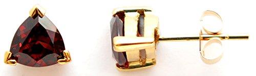 (14K Solid Yellow Gold Genuine AAA Garnet Trillion cut Stud Earrings)