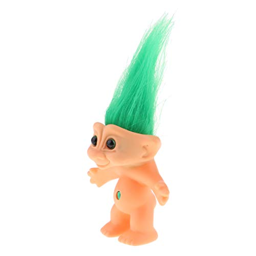 Mini Troll Dolls, PVC Vintage Lucky Doll Mini Action Figures 10cm Cake Toppers Chromatic Adorable Cute Little Guys Collection, Party Favors - Green