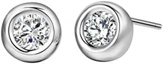 T400 Jewelers 925 Steling Silver Round Stud Earrings with Cubic Zirconia Setted