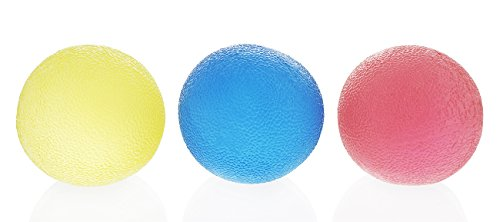 3-Pack Stress Ball Set - Round Rubber Stress Relief Squeeze Ball, Hand and Finger Grip Strengthening, 3 Colors, 1.9 Inches in Diameter (Stress Ball Golf Ball)