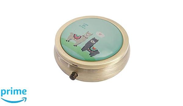 Amazon.com: Halulu Llama Personalized Design Round Pill Case Decorative Metal Medicine Vitamin Organizer Unique Gift: Home & Kitchen