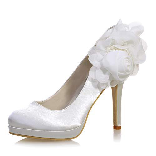 LLBubble Women's High Heels Platform Round Toe Satin Bridal Shoes Low Cut Floral Pearls Wedding Pumps-Ivory 1-10.5 ()