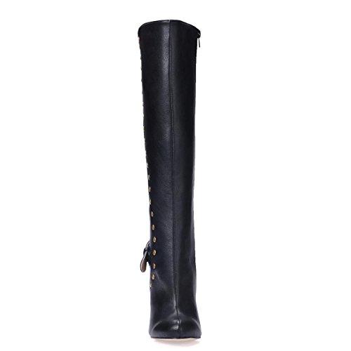 alti punta gomma in a spillo ginocchio donna Suola in 12CM Scarpe 4U® Premium a Nero da cerniera invernali Stivali con Tacchi rilievo al Rivetto Best PU AwnTvxZzqq