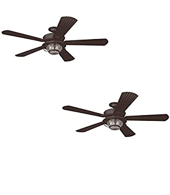 Set of Two - No. 40094 - Merrimack 52-in Antique Bronze Downrod or Flush Mount Ceiling Fan with Light Kit and Remote - Harbor Breeze