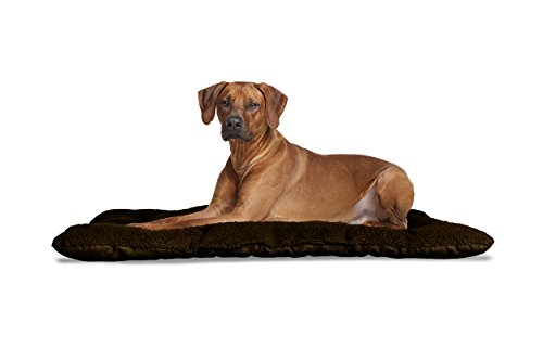 Furhaven Pet Reversible Terry and Suede Pet Tufted Pillow Dog (Brown Suede Crate Mat)