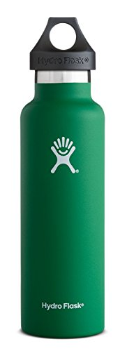 Hydro Flask 18 oz Vacuum Insulated Stainless Steel Water Bottle, Standard Mouth with Loop Cap, Forest
