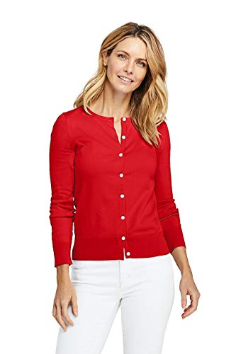 Lands' End Women's Tall Supima Cotton Cardigan Sweater, L, Bright Cherry