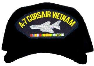 A-7 Corsair Vietnam Ball Cap * W/RIBBON EMBROIDERED EMBLEM BLACK Ball Cap/ Hat from MILPRO