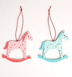 a pair of blue pink wooden rocking horse christmas tree hanging decoration - Horse Christmas Decorations Uk