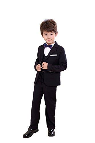 M&Q Boys Black Suit formal 4 piece set with Jacket Vest Bow Tie&Pants(13-14)
