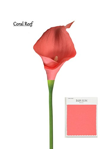 60 stems of Fragrance Premium Keepsake artificial real touch calla lily-coral reef.Small bloom perfect for DIY corsage boutonniere bouquet … ()
