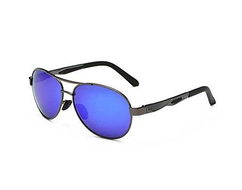 Hero Ultralight aviation aluminum-magnesium aviator sunglasses (Gun gray frame blue lens) (Aviator Celine Pilot Sunglasses)