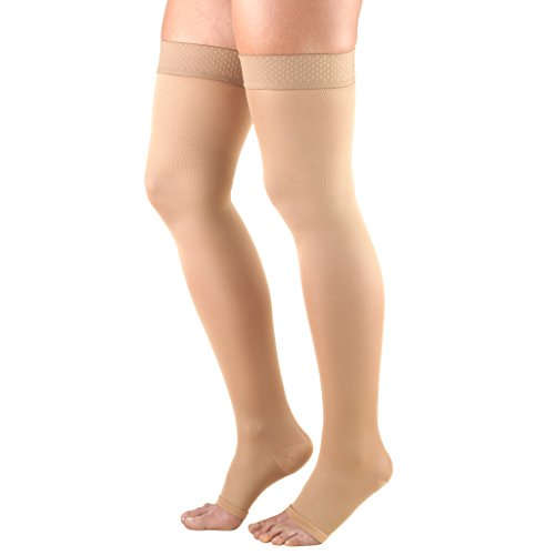 Thigh Graduated Compression Stocking Length (Truform Women's 20-30 mmHg Thigh High, Open Toe Compression Stockings, Beige, Large)