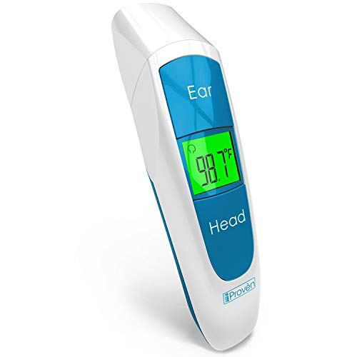 [New 2019 Model] iProven Baby Digital Thermometer Forehead and Ear - Quick Readings in 1 Second - with Fever Indicator and Backlight - DMT-316BLU