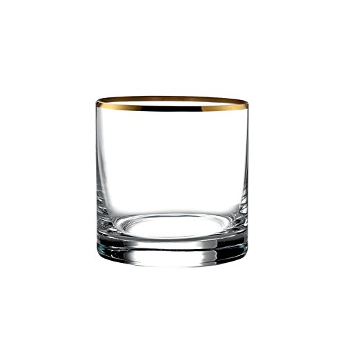 Floyd Old Fashioned - Fitz And Floyd Michel Old Fashioned Glasses 13.9 Oz With 24 Karat Gold Rim, Set of 8
