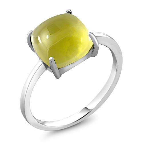 Silver Ring Quartz Sterling Lemon - Gem Stone King 4.10 Ct Cushion Cabochon Yellow Lemon Quartz 925 Sterling Silver Ring (Size 7)