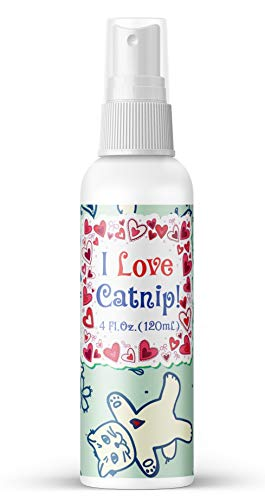 Pet MasterMind I Love Catnip 4oz Liquid Catnip Spray - All Natural New Extra Potent Formula! - Made from 100% Canadian Grown Catnip!