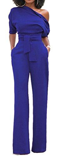 Blue Elastic Waist Pants (Alaroo High Waist Blue Jumpsuit Women Belted Off Shoulder Palazzo Flared Pants XL)
