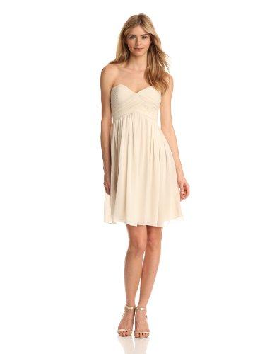 Donna Morgan Women's Strapless Sweetheart Chiffon Dress, Candlelight, 0 (Donna Morgan Silk Chiffon)