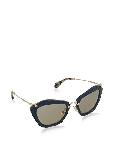 Miu Miu MU10NS USZ5J2 Blue / Gold / Tortoise Noir Cats Eyes Sunglasses Lens - Miu Sunglasses
