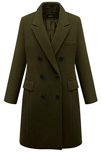 chouyatou Women's Basic Designed Notch Lapel Double Breasted Mid-Long Wool Pea Coat (X-Large, Army Green) (Coat Pea Military Women)
