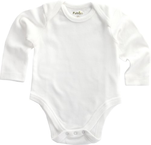 Funkoos White Long Sleeve Organic Baby Bodysuit, Girl/Boy, Newborn/Baby